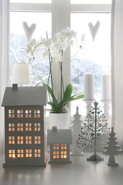 winter decorating tea light houses and the orchid. Black Bedroom Furniture Sets. Home Design Ideas