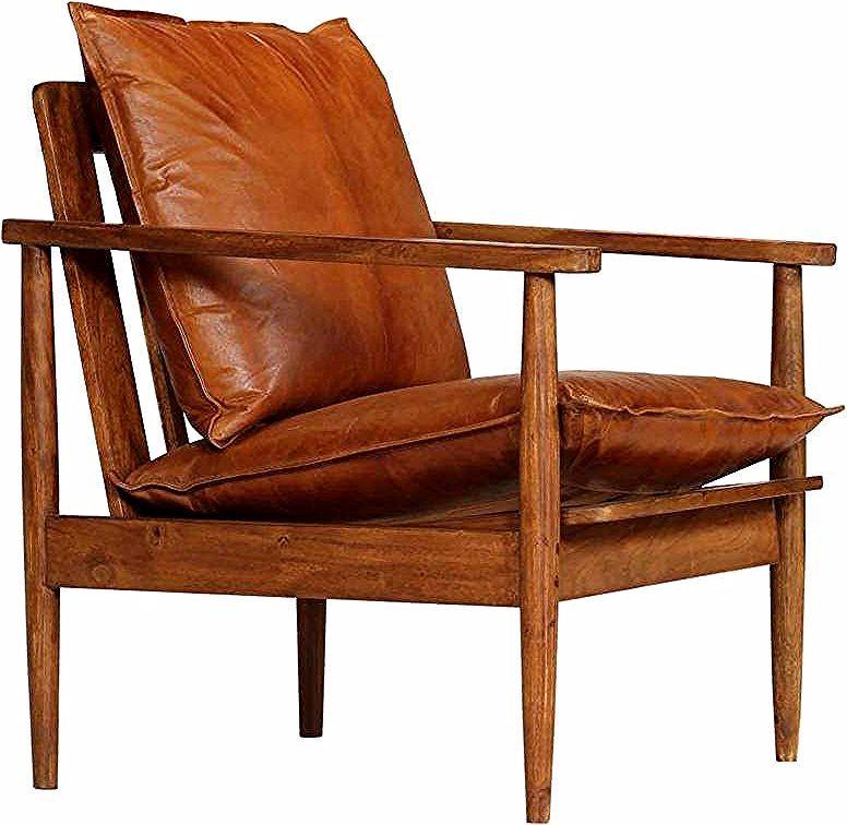 Fauteuil Chaise Siege Lounge Design Club Sofa Salon Cuir Veritable Avec Bois D Acacia Marron He In 2020 Mid Century Modern Accent Chairs Modern Accent Chair Armchair