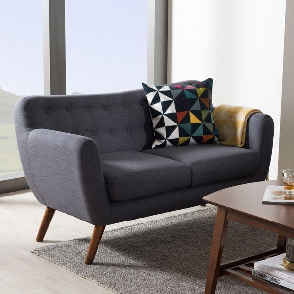 Baxton Studio Melita Mid-Century Modern Fabric Walnut Wood Tufted 2-Seater Loveseat