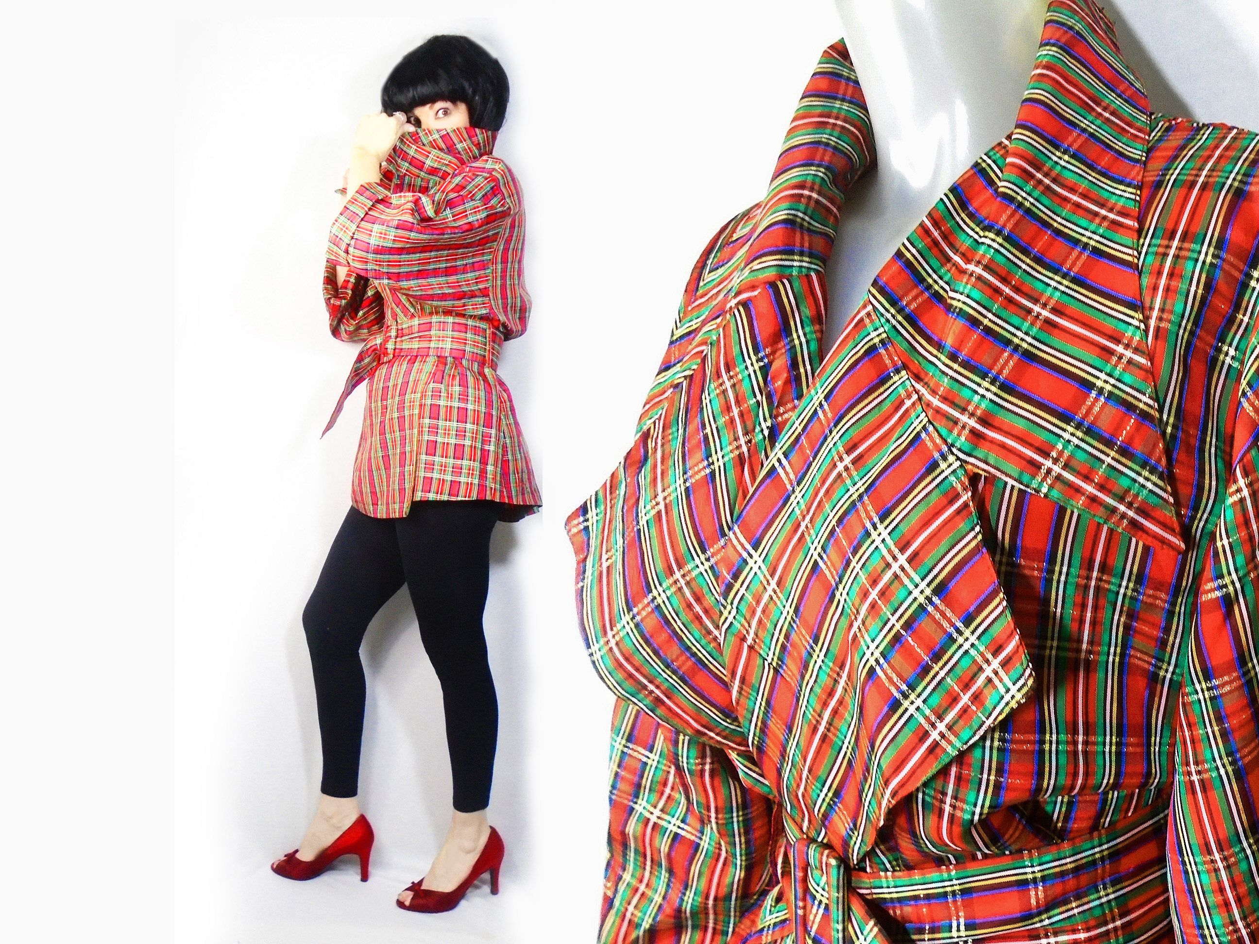 63d2c378171 Christmas Blouse Womens Plus Size Vintage Red Plaid Taffeta Jacket ...