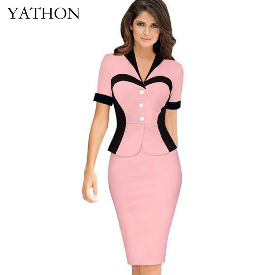 YATHON Chic False two Heart Pattern Formal Occasion Office Work ...