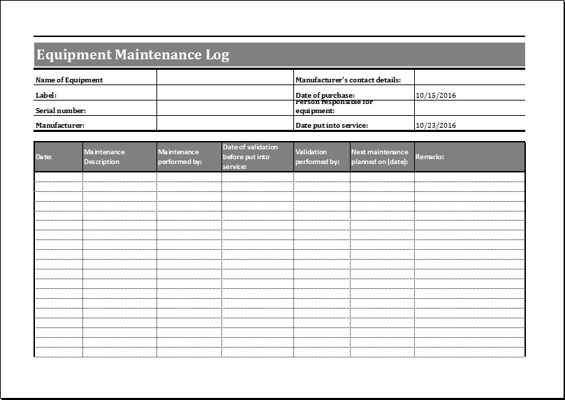 Maintenance Log Templates 14 Free Printable Word Excel