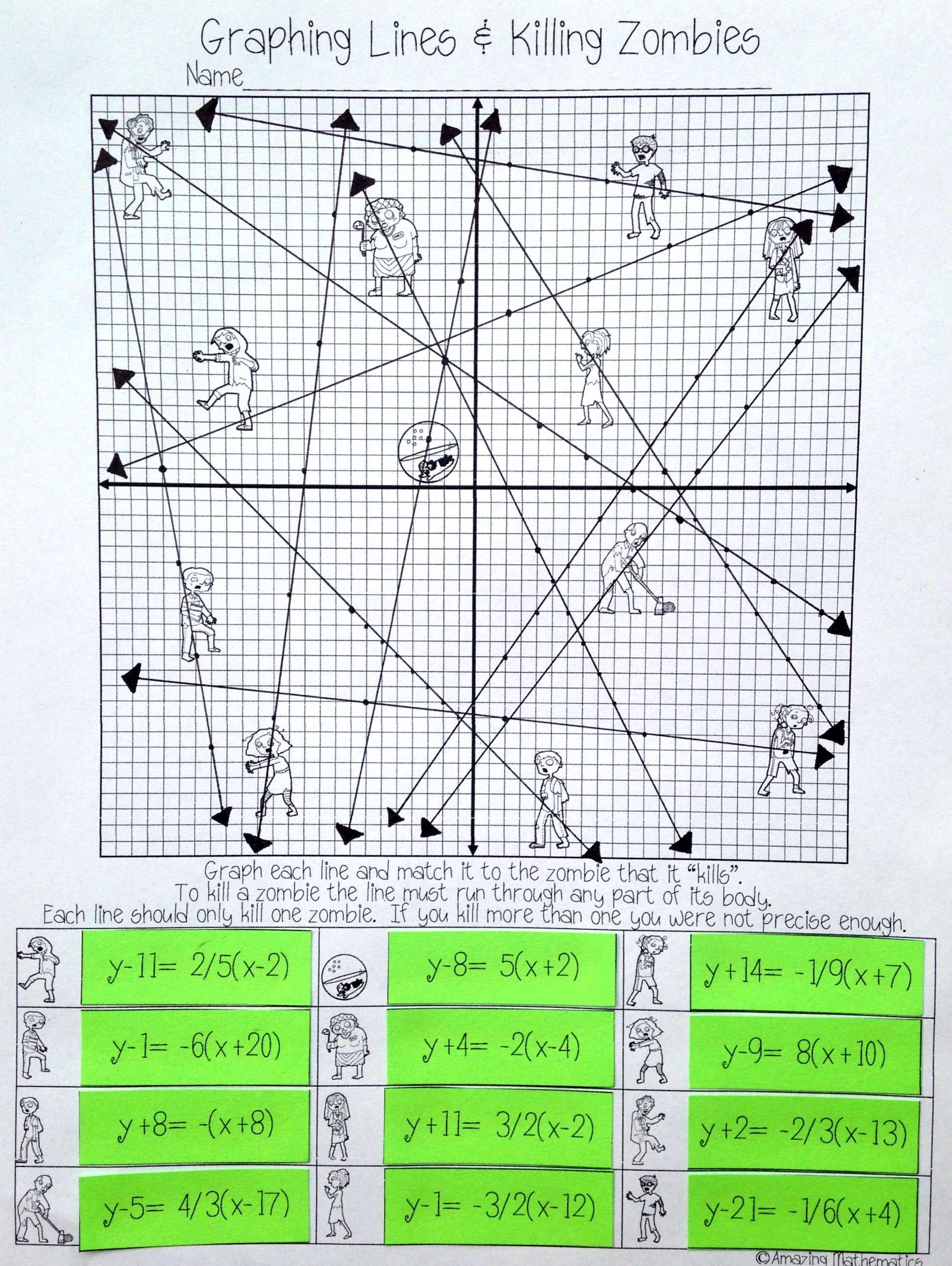 medium resolution of Graphing Lines \u0026 Zombies ~ Point Slope Form   Graphing linear equations