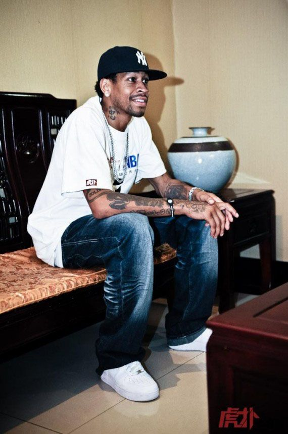 733f086bbf6 Allen Iverson wearing Nike Air Force 1s and not Reeboks