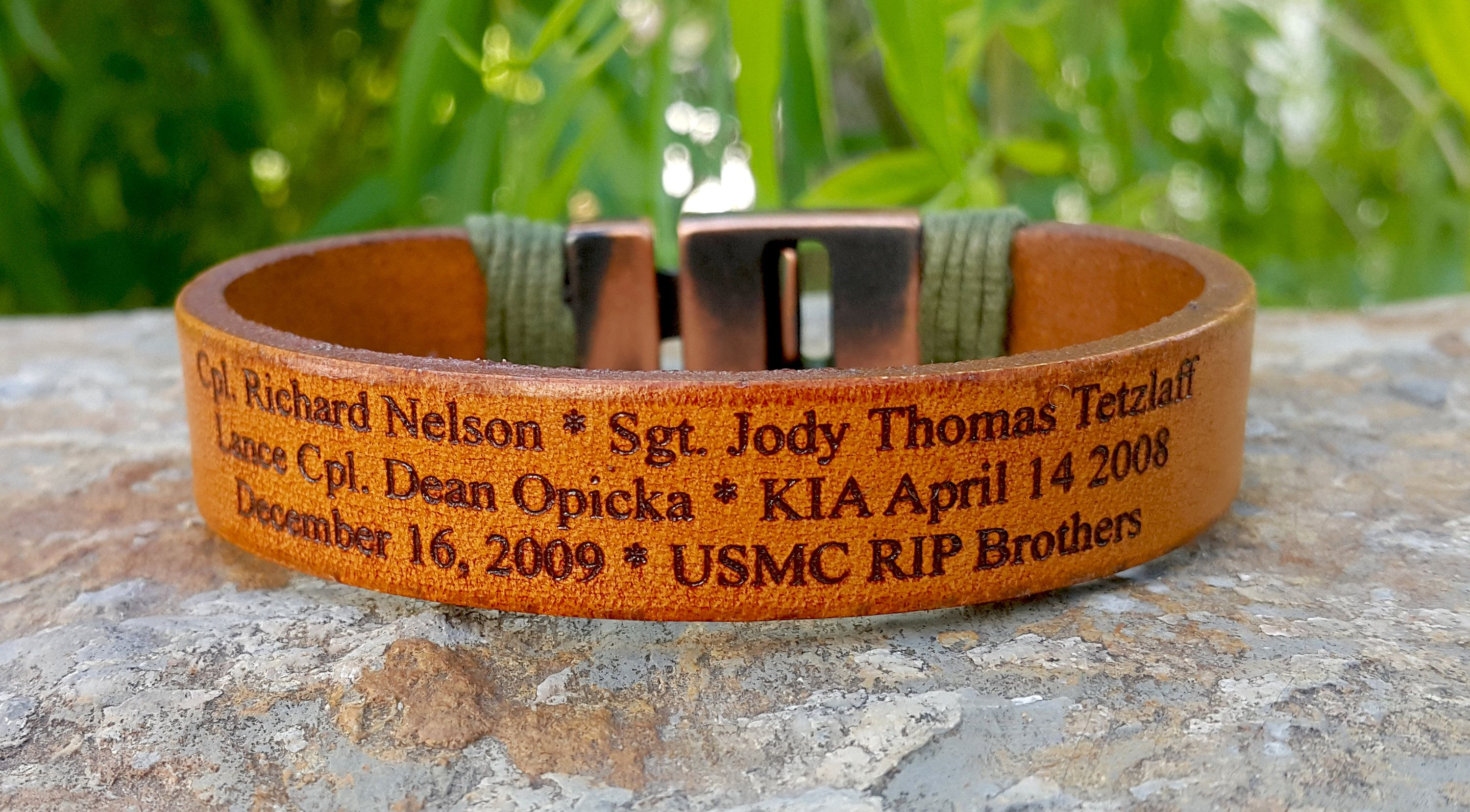 Personalized Mens Womens Military Leather Bracelet Memorial Jewelry Kia Loss Of Child
