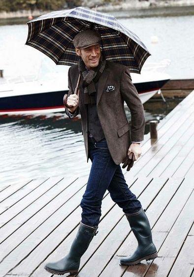 Hunter mens rain boots, tweed blazer, waistcoat, pocket