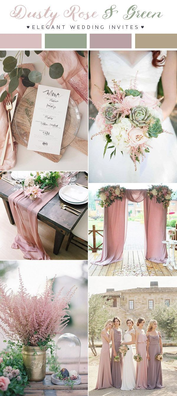 dusty rose pink and green romantic wedding color ...