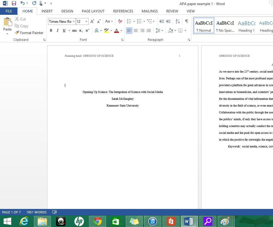 Formatting APA Style In Microsoft Word 2013 Apa Style Microsoft