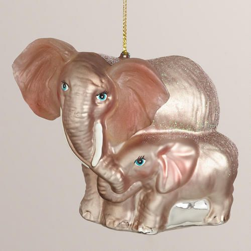 I need this one!!! One of my favorite discoveries at WorldMarket.com: Glass Elephant Mother and Child Ornament