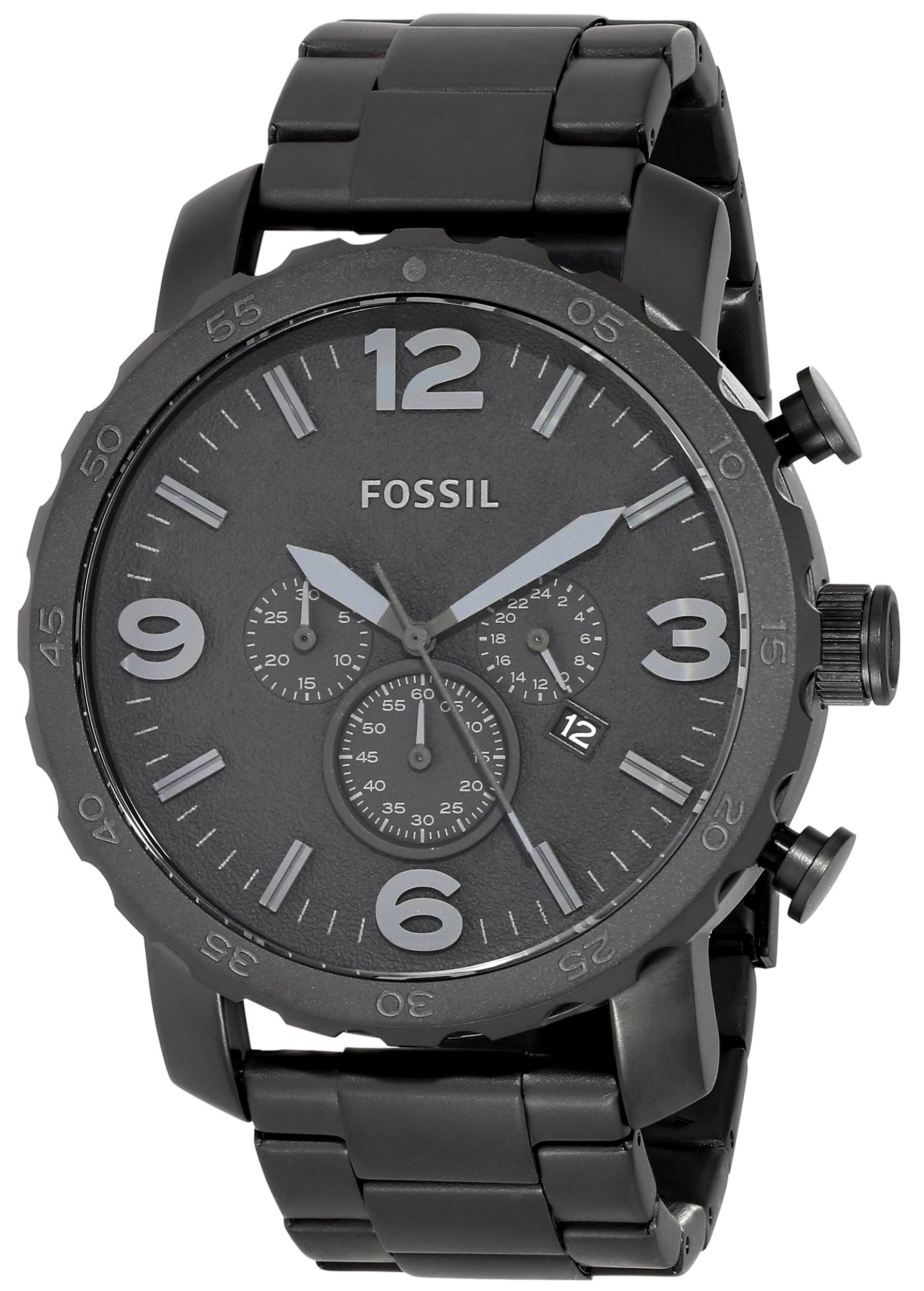 4e23473ab01 Fossil Men s JR1401 Nate Chronograph Stainless Steel Watch - Black ...