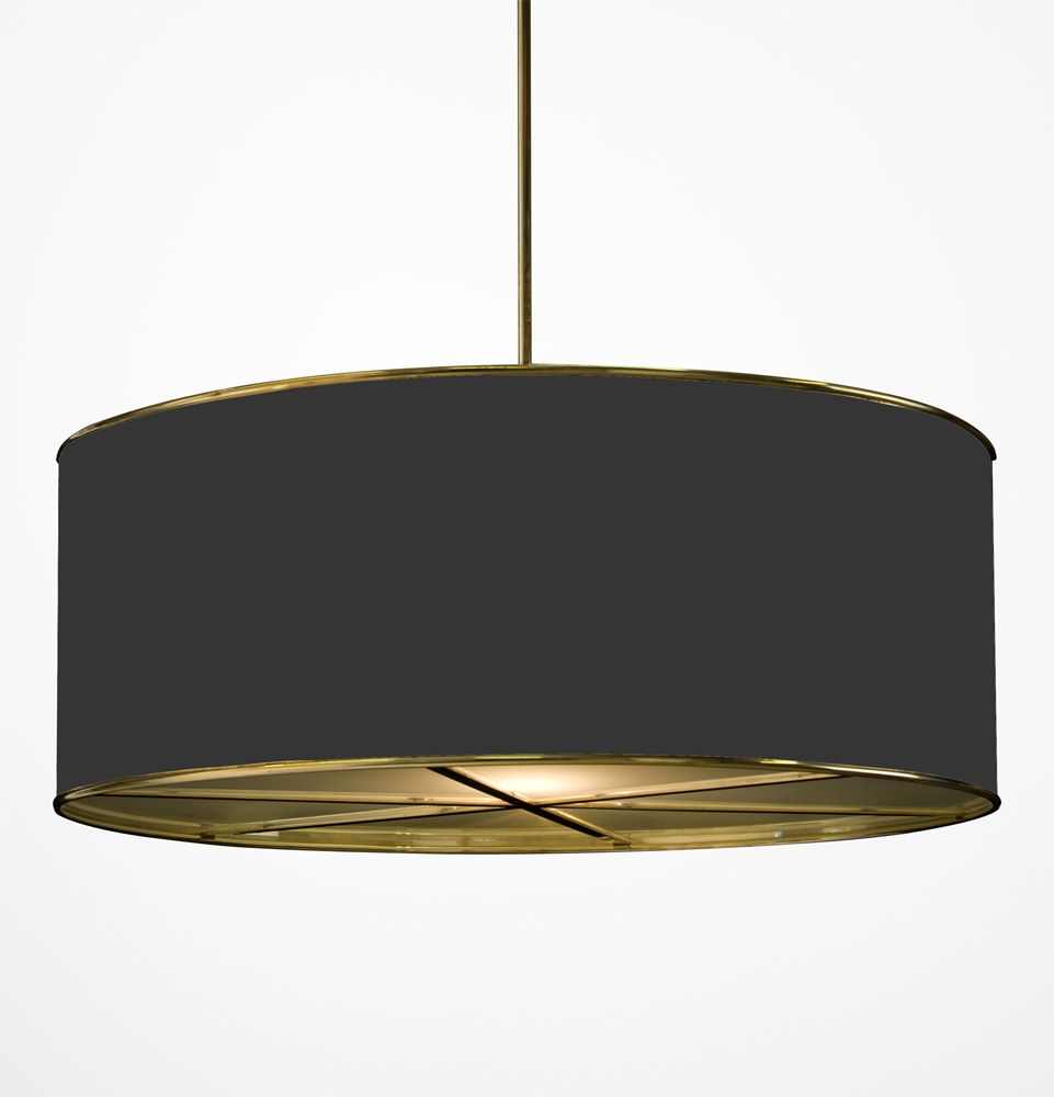 Hanging Drum Shade Light With Frosted Glass Diffusers HS 194