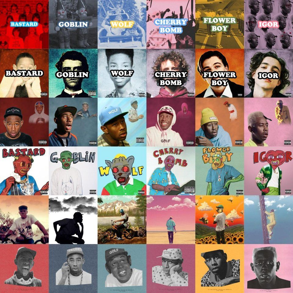 Every Tyler, the Creator album cover in the style of every
