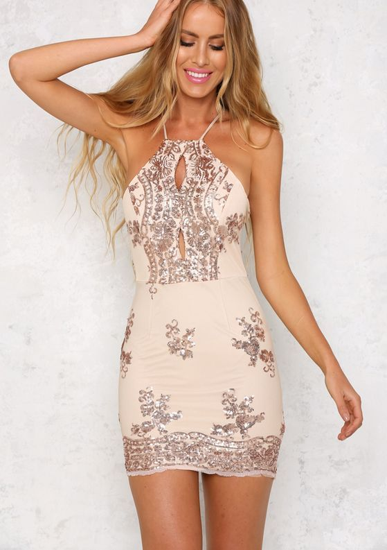 of the party rose gold sequin bodycon dress