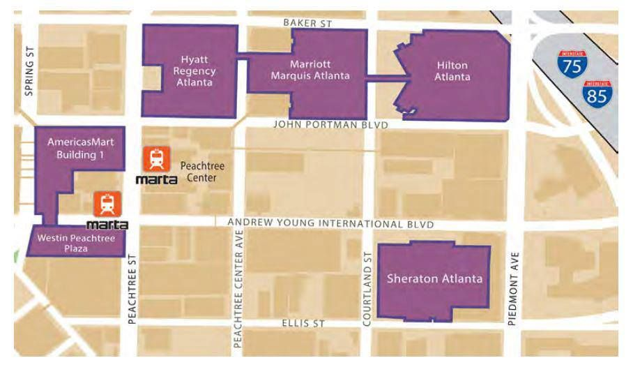 Americasmart Atlanta Map.Map Of Atlanta Hotels For Dragon Con And America S Mart Con Life