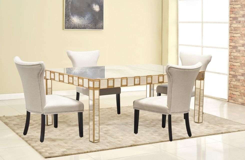 Yj003 Special Mirrored 5 Pcs Dining Set Collection  Furniture Cool Wholesale Dining Room Chairs Design Inspiration