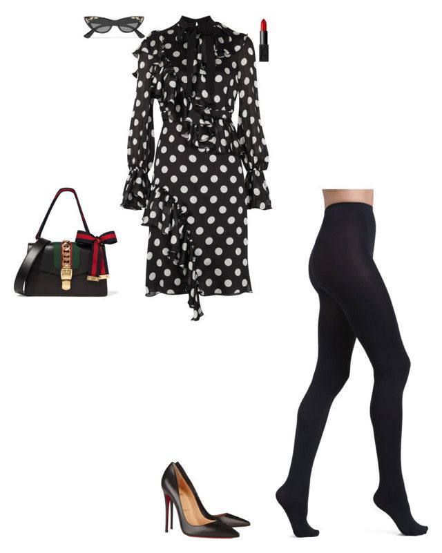 """""""Event with fashion bloggers"""" by stylev ❤ liked on Polyvore featuring Gucci, Wolford, Christian Louboutin and NARS Cosmetics"""