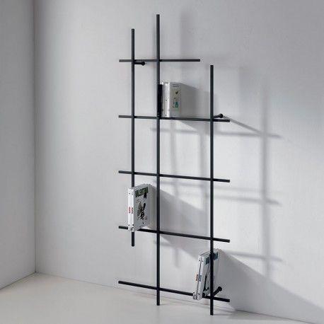Angolari Scaffali Metallici.Libreria A Muro Libra 3 In Tubi D Acciaio 77 X 187 Cm Flur