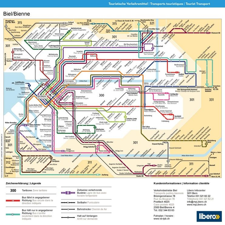 BielBienne transport map Maps Pinterest Switzerland cities
