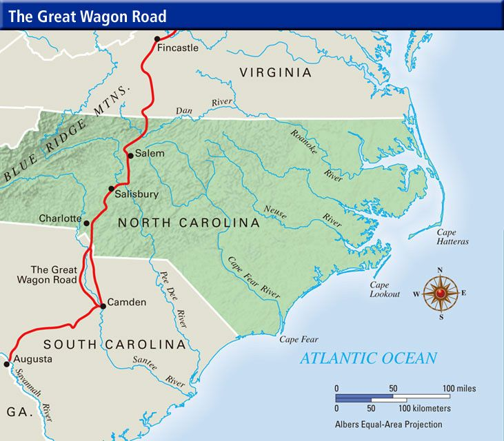 Map Of North Carolina Counties In The Great Wagon Road - Road map of north and south carolina