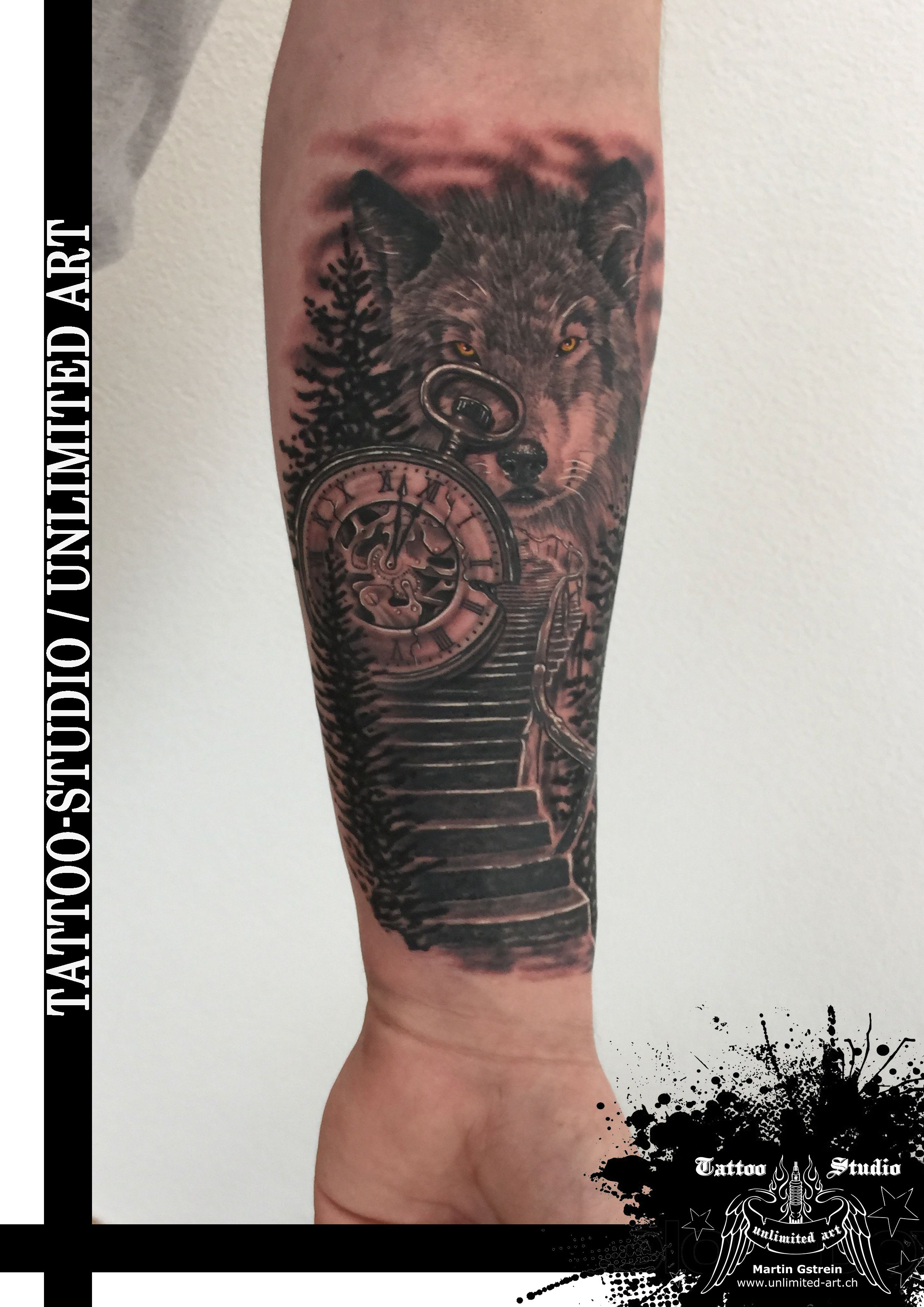Treppe Tattoo Black Grey Tattoo Treppe Mit Taschenuhr Wolf Tattoo