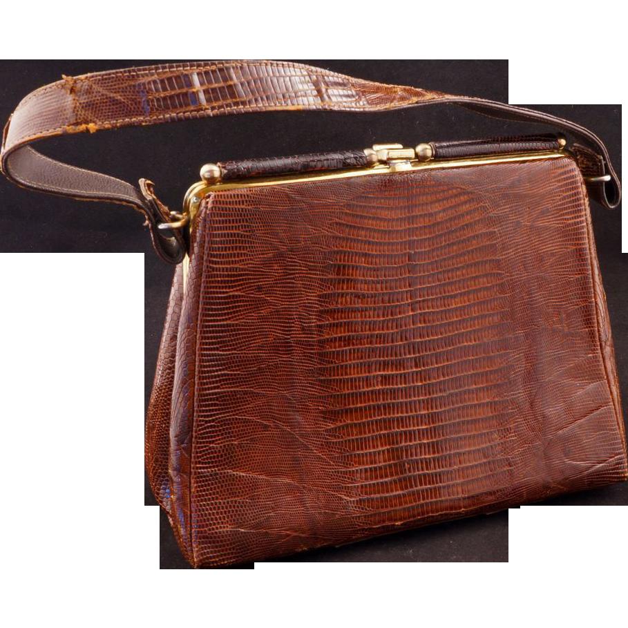 Vintage Dark Brown Alligator Purse Handbag C 1964