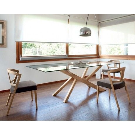 Table design en verre et pieds bois tree domitalia - Table moderne en verre ...