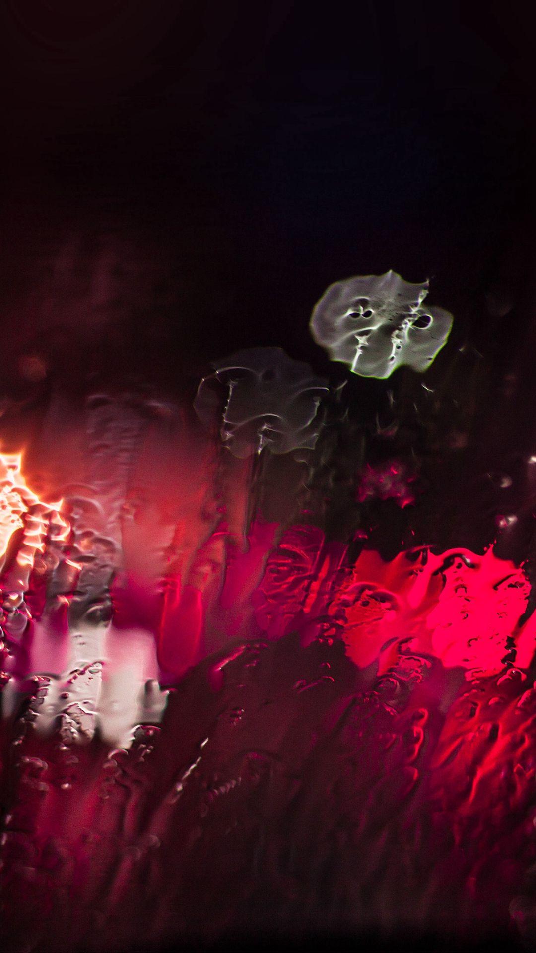 raining window bokeh red light iphone 6 wallpaper | watery