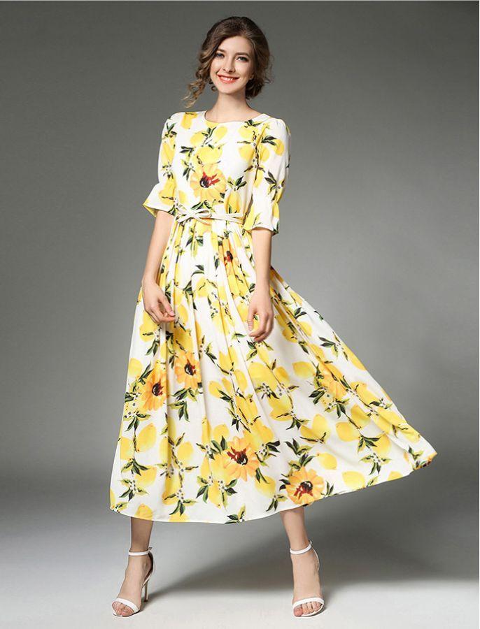 1b637f235f1 Squeeze The Day Lemon Print Retro Midi Long Modest Dress