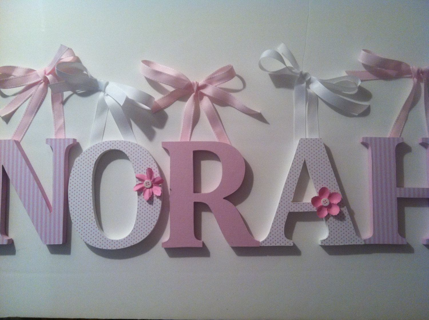 Alphabet Wooden Letters For Nursery In Pink And White