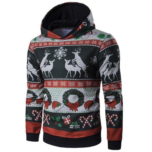 Hooded Christmas Reindeer and Snowflake Print Hoodie