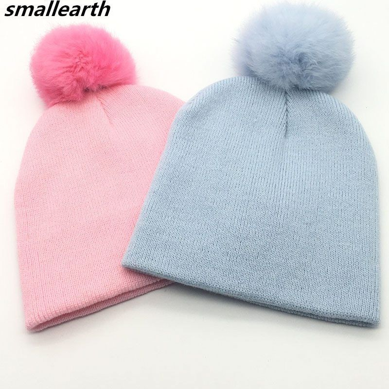 c2dc9182ea2 New Brand Children Hat Toddler Kids Baby Warm Winter Rabbit hair Hat  Fashion Knit Beanie Fur Pom Pom Hat Baby Boys Girls Cap now available on  Affordable ...