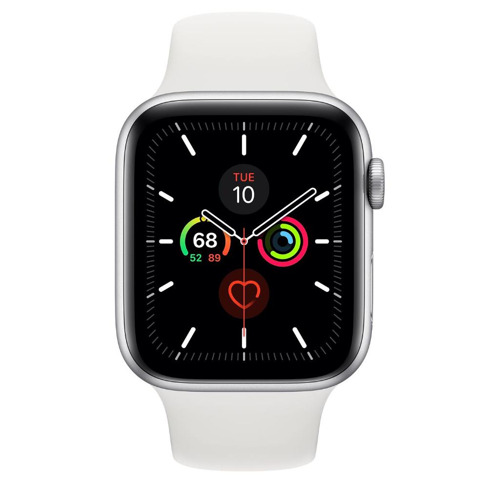 Apple Watch Series 5 Gps Caixa Em Aluminio Prateado De 44 Mm Com Bracelete Desportiva Branca S M E M L Apple Buy Apple Watch Apple Watch New Apple Watch