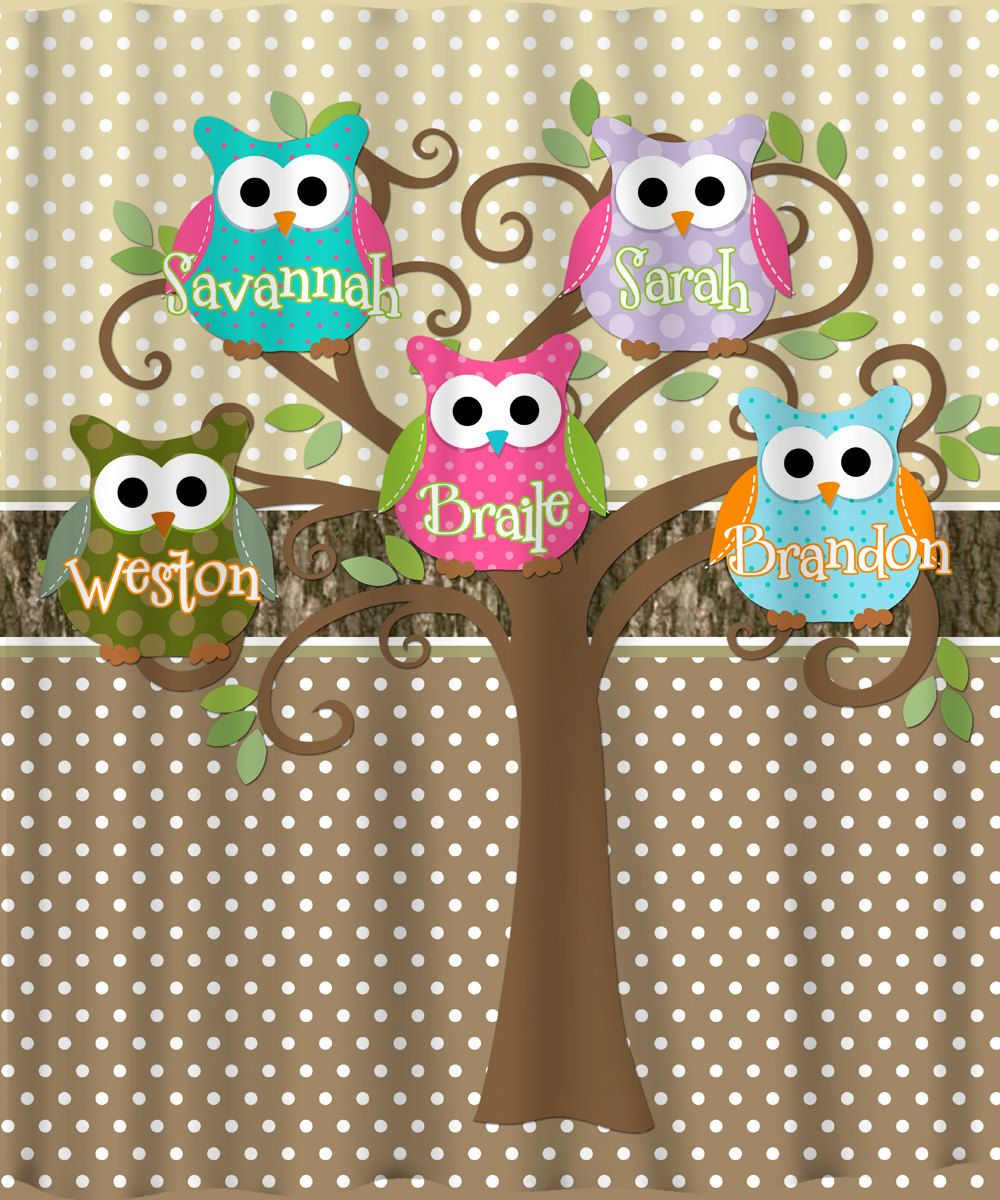 Pictures+using+shower+curtain+background | Mod Tree Owl Shower Curtain