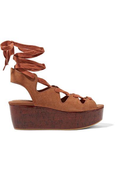 db31a7b8e14 Platform sole measures approximately 40mm  1.5 inches Light-brown suede Ties  at ankle Imported