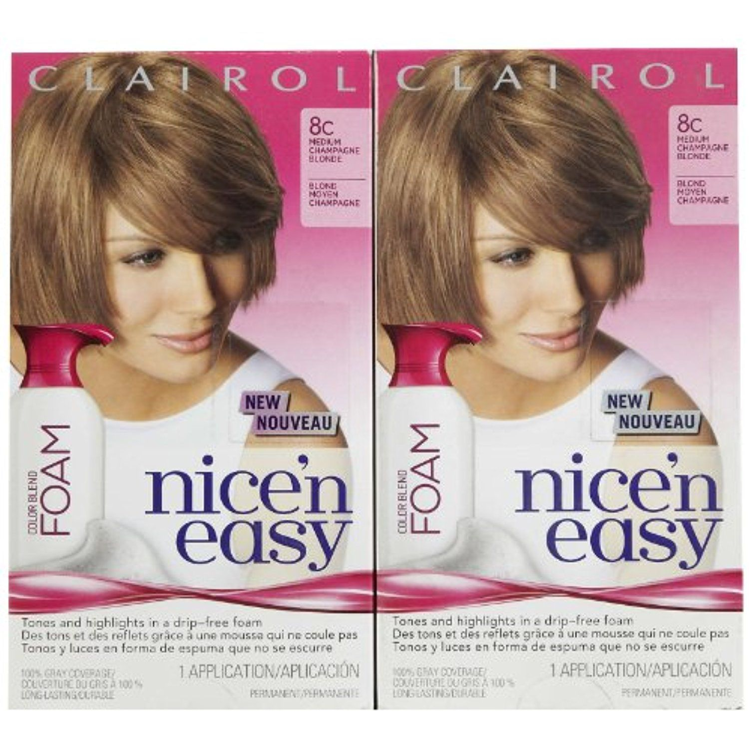 Clairol Nice N Easy Color Blend Foam Hair Color 8c Medium Champagne Blonde 2 Pk Click On The Image For Additi Champagne Blonde Foam Hair Color Hair Color
