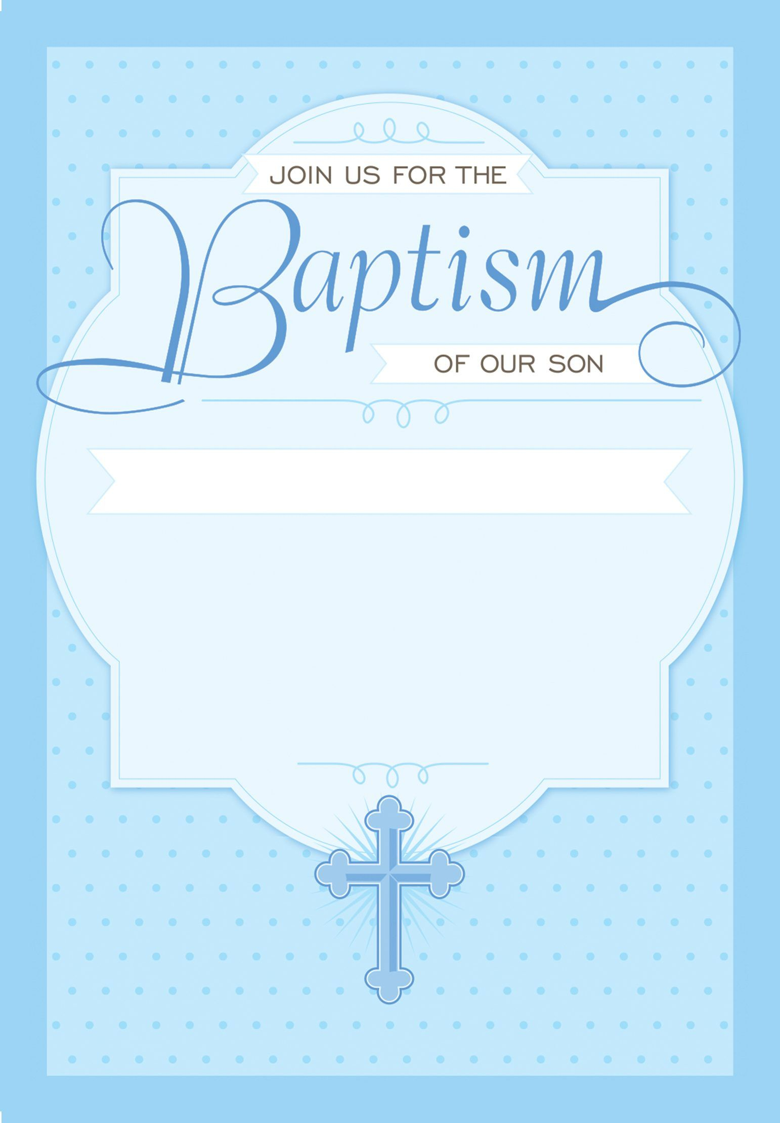Christening Invitation Blank Template for Baby Boy Beautiful