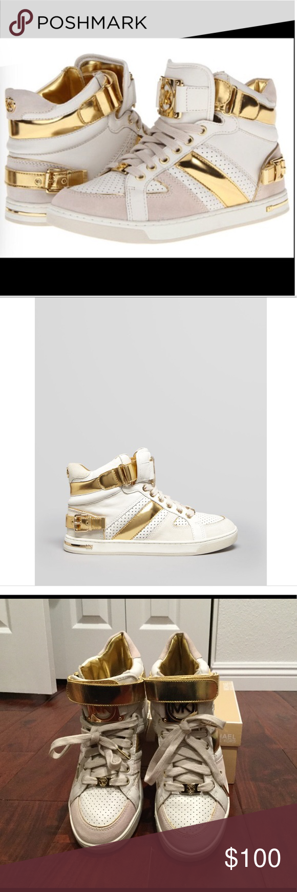 """Michael Kors Sneakers Michael Kors """"Fulton"""" high top Sneakers. Lace up with functional Velcro strap. Decorative buckle at heel, metallic accents and piping. Leather and man made upper, leather lining/fabric lining and rubber sole. NWB. Size 9.5 Michael Kors Shoes Sneakers"""