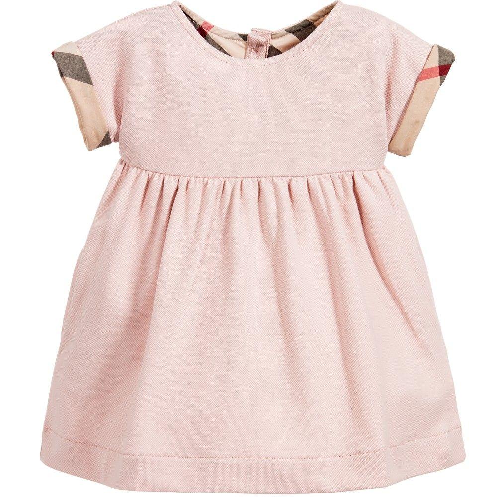 47a663e0a7c66 Baby Girls Powder Pink   Beige Check Dress