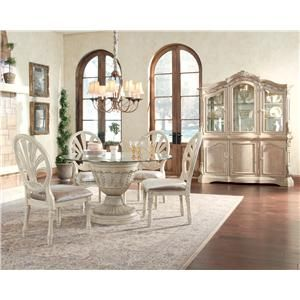 Ashley Millennium Ortanique 5 Piece Glass Top Table Set With Pierced Oval  Back Chairs
