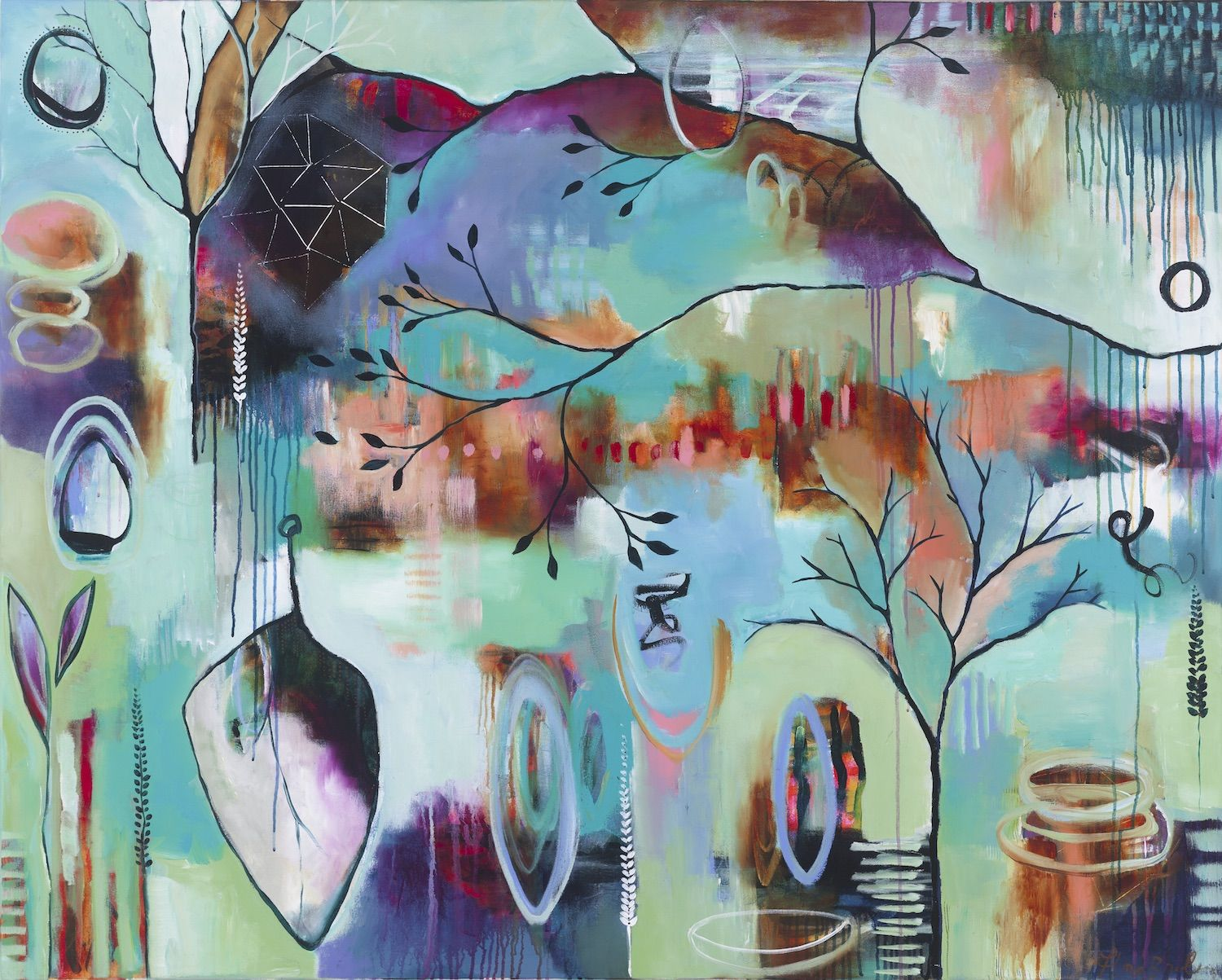 Full Circle 2016 Acrylic On Canvas 48 X 60 In Florabowley Braveintuitivepainting Flora Bowley Abstract Art Painting Art
