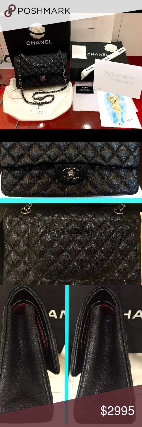 38de1e25963e44 Chanel 2.55 Caviar Double Flap Medium Pre-loved Authentic Chanel bag 2.55  classic timeless caviar