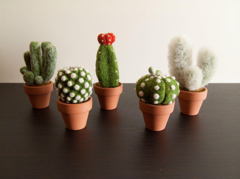 Cactus Arredamento ~ Needle felted cactus felt pincushion needle felting cacti and