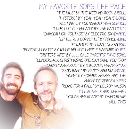 List of songs curated by Lee Pace for John Benjamin Hickey's