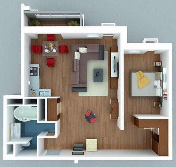 Le plan maison du0027un appartement une pièce - 50 idées