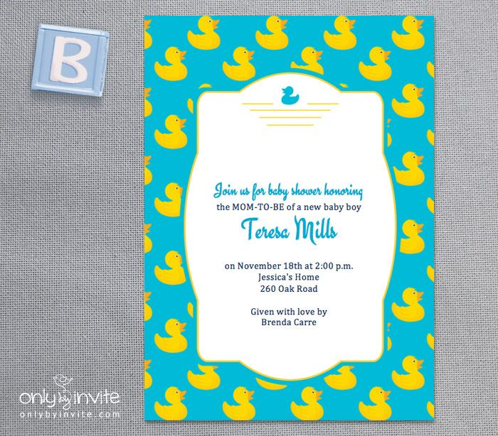 Free Printable rubber ducky baby shower invitation template Free
