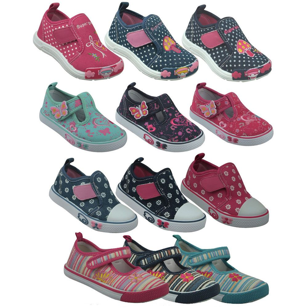 GIRLS KIDS CHILDRENS SHOES TRAINERS CASUAL CANVAS LEATHER INSOLE SIZE 4 5 6 7 8