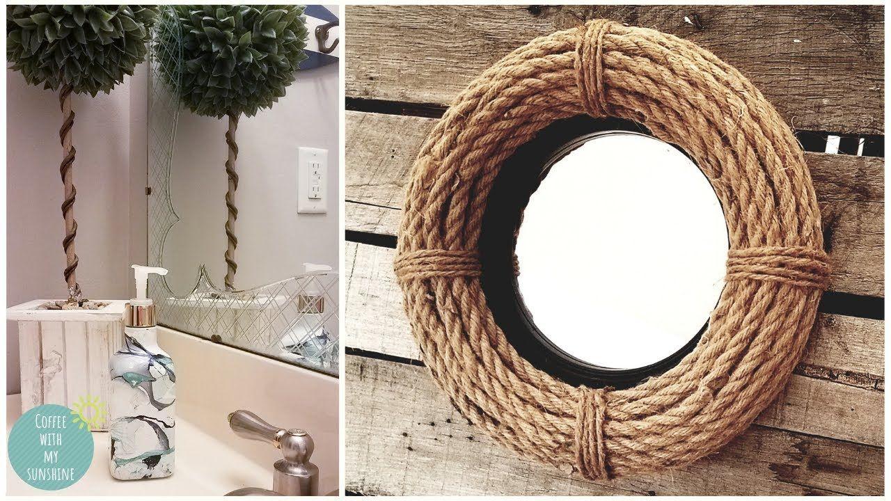 Coastal farmhouse rope wreath mirror dollar tree diy
