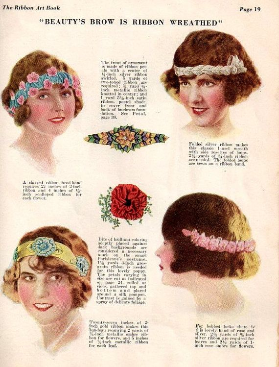Vintage Art Deco Era Ribbon Art Craft Ebook -1920's Flapper -Wedding Millinery Floral Lingerie Costume Design #ribbonart
