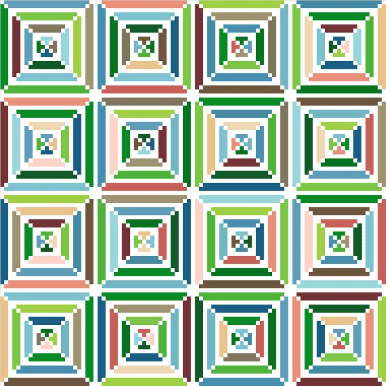 Cross stitch design, optical illusion squares in g