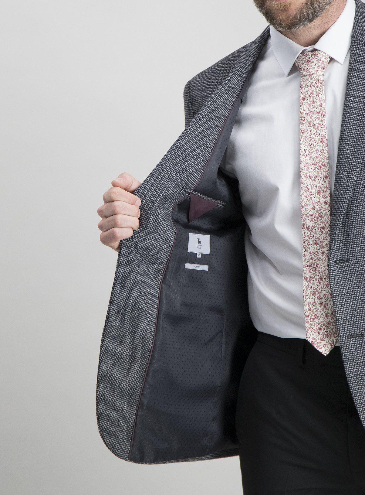 Charcoal Textured Slim Fit Wool Blend Jacket - 52L